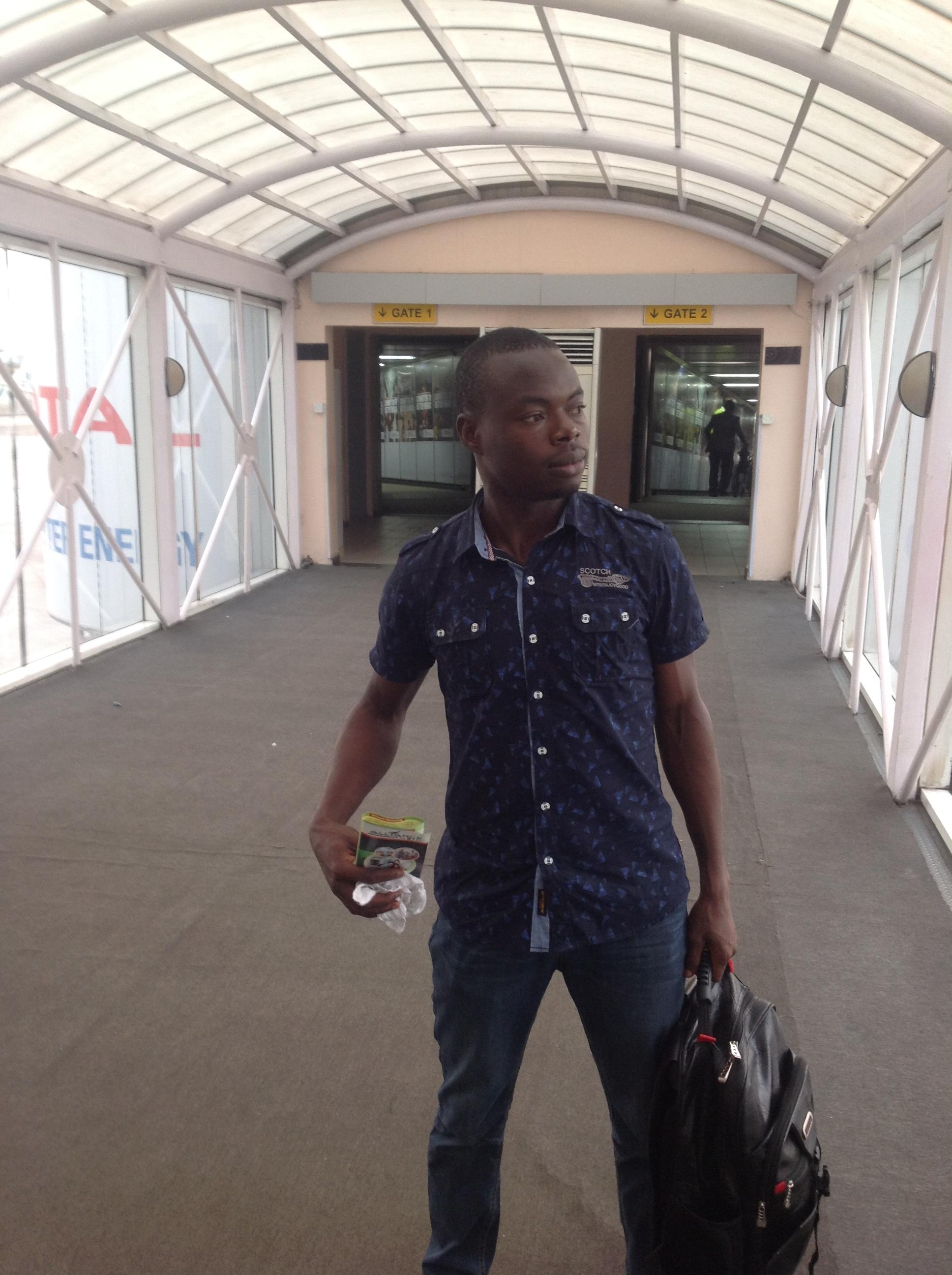 Olawale Daniel coming off the plane