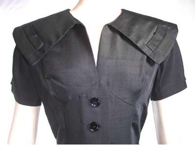 black 50s collar dress