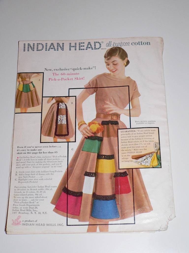 Indian Head Fabric skirt ad