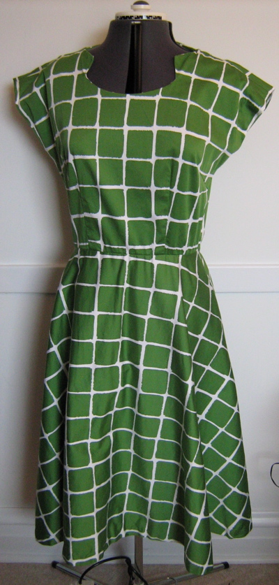 green windowpane dress