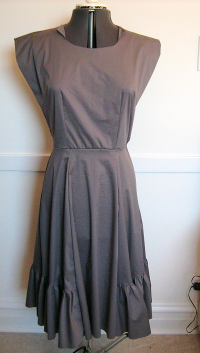 gray ruffle dress