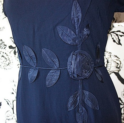 navy dress with taffeta roses and leaves