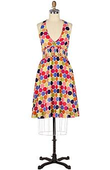 Anthropologie dot halter dress