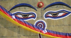 Gli occhi del Buddah del tempio di Swayambhunath