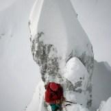 """Barry Bona sulla via """"Ultima frase"""", salita con suo padre Alvio (Cimon di Palantina 2190 m, parete N-O, gruppo Col Nudo – Cavallo), 2008 (Ph © B. Bona)"""