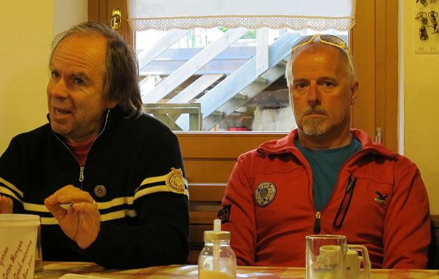 Narciso Simion, presidente delle guide alpine Aquile di San Martino di Catrozza e Primiero e a dx. Mariano Lott, guida alpina e gestore del rifugio  rifugio Pedrotti alla Rosetta
