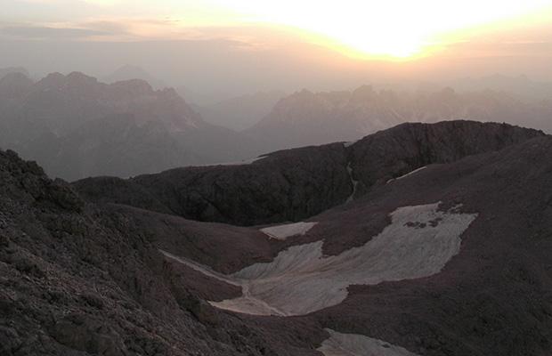 L'alba dalla cima della Croda Grande