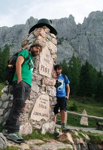 11a tappa: Francesco Maino (a sx) e Daniele Marcassa hanno raggiunto le sorgenti del Piave