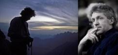 Dal libro LE VIE: Lorenzo Massarotto in cima all'Agnèr, dopo la ripetizione con Ettore De Biasio della via Iori-Andreoletti-Zanutti (agosto 1981)   Auditorium Canneti 22 febbraio 2004 (ph Alessandro Pianalto)