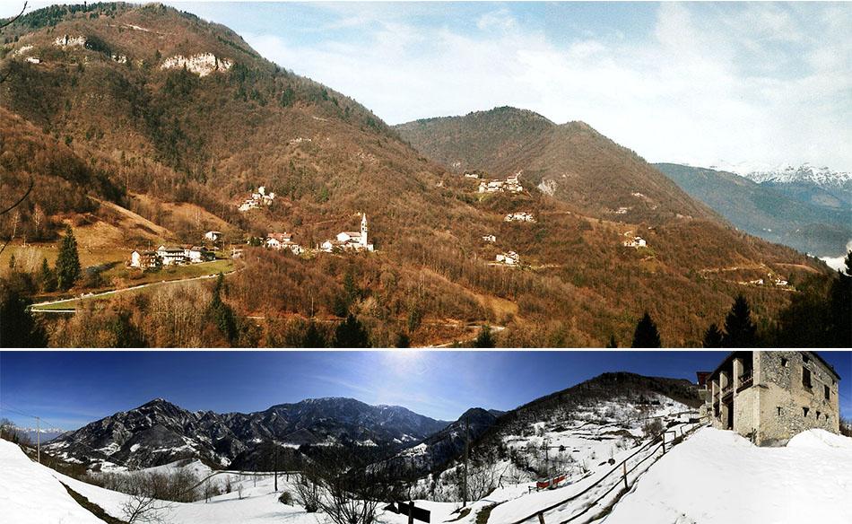 Val di Seren con el Pian de la Cesa (ph. www.porcensito.eu) e panoramica del Col dei Bof (ph. www.bellunovirtuale.com)