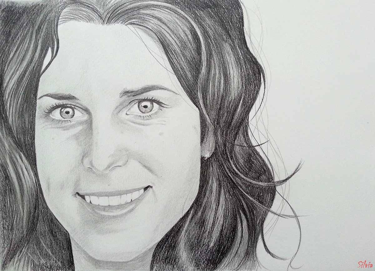 Tamara Lunger nel ritratto di Silvia Benetollo (da una foto di Stefano Michelin)