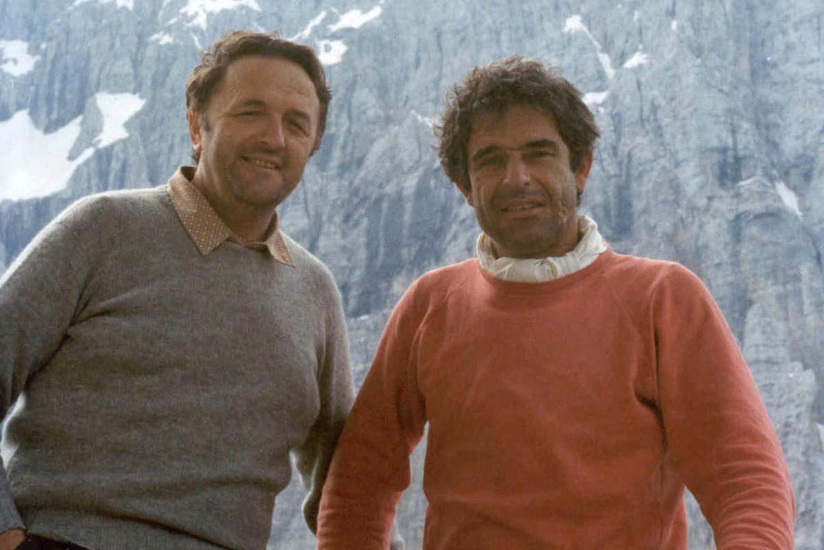 Loris De Moliner (a sx) con Roberto Sorgato in Civetta (archivio Loris Santomaso)