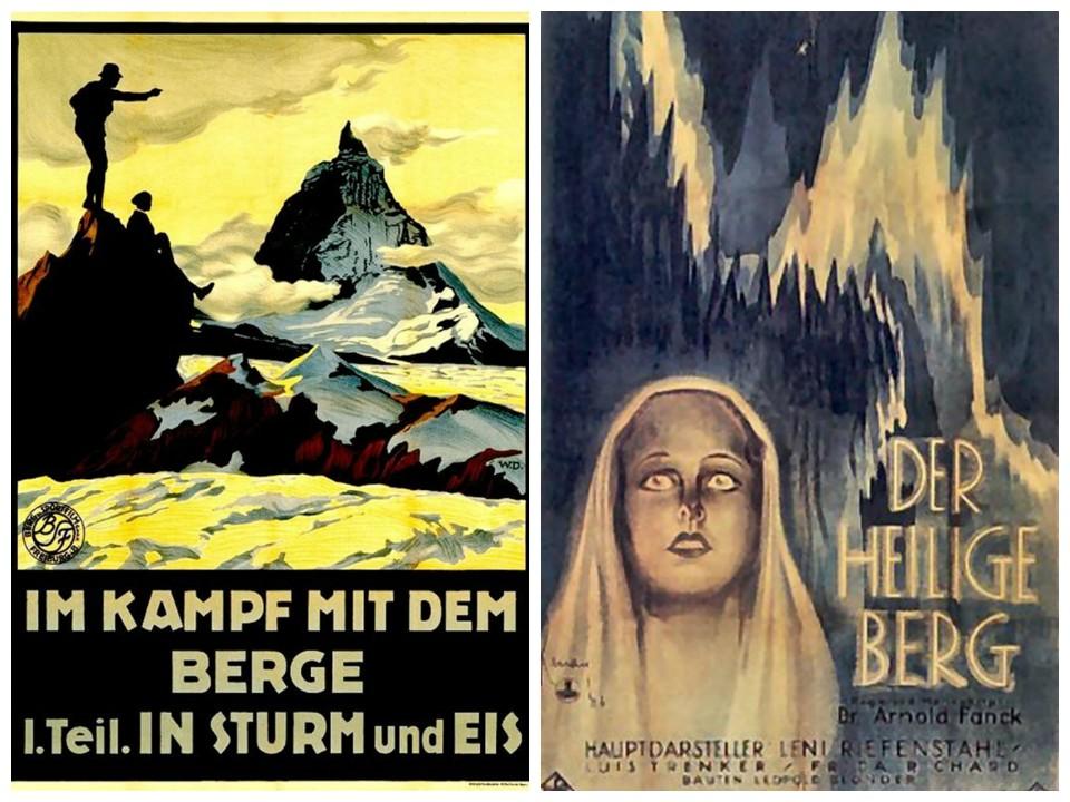Fig.1. Manifesto pubblicitario di Kampf mit dem Berge, 1925. Fig.2. Il manifesto di « Der heilige berg», 1926.