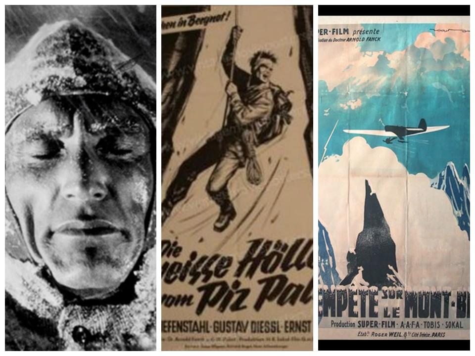 Fig.3. Luis Trenker in un fotogramma di «Der heilige berg», 1926. Fig.4. Locandina di «Die weiße Hölle vom Piz Palü», 1929. Fig.5. Manifesto francese de «Tempesta sul Monte Bianco», 1930.