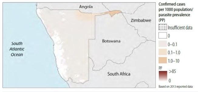 namibia casos confirmados malaria mapa 2015
