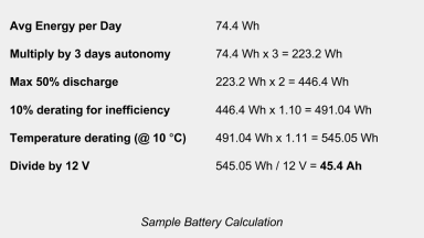 Sample Battery Calculation