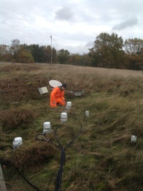 Dr. Jesper Christiansen in his rain gear checking on the eosAC chambers located in the control plot.