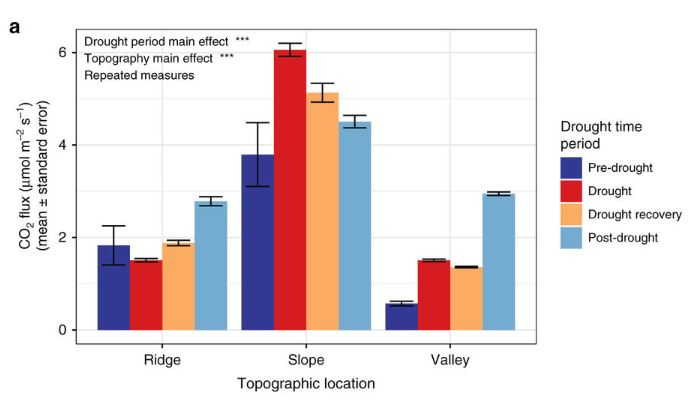 Figure 1: Soil carbon dioxide emissions across topographic zones and drought time periods.