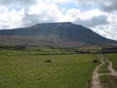 Ingleborough, looking all dark and fearsome, and at this stage I do believe we'll have already done eighteen miles!