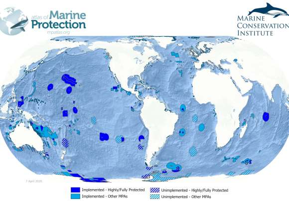 A map of Marine Protected Areas worldwide, with shades of blue showing where these exist. Most are patches in the Pacific Ocean.
