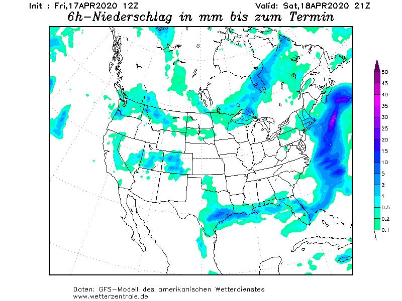 GFS-Prognose Niederschlag 6 Stunden USA/Kalifornien