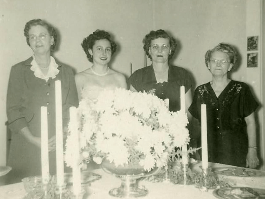 Ranny, Mom, Grandmother Hamrick & Great Grandmother Wilkerson at a Wedding Shower held for my Mom (1952)