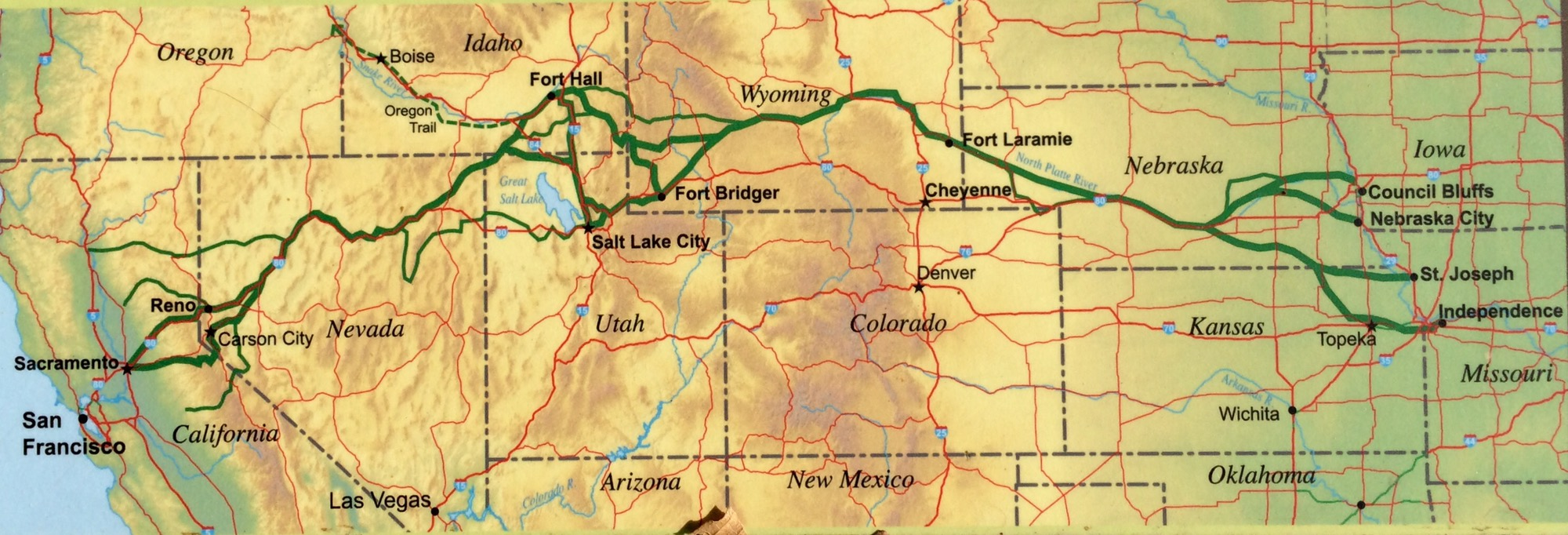 Day 1 on the California Trail-The Parting of the Ways | OLD AGE IS Donner Party Map on