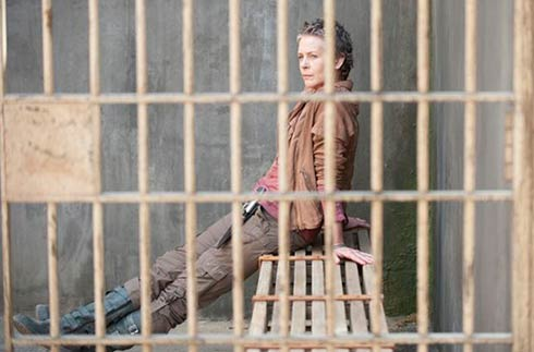 Melissa McBride in a jail cell