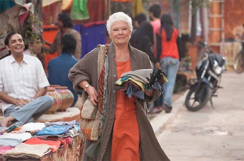 Judi Dench on a street in India
