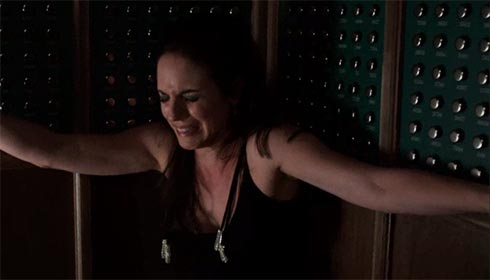 Bo sobs in the elevator as she escapes from Hades