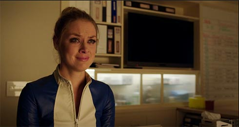 Tamsin in tears.