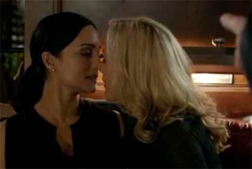 Stella kisses Tanya