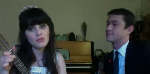Zoe Deschanel and Joseph Gordon-Levitt singing