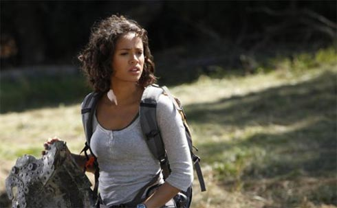 Gugu Mbatha-Raw in and action scene from  Undercovers