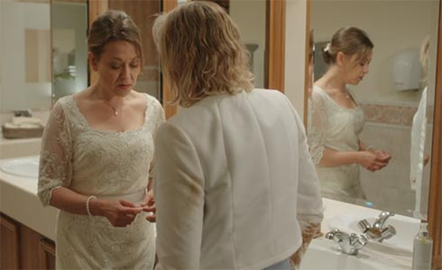 Gillian and Caroline in the bathroom