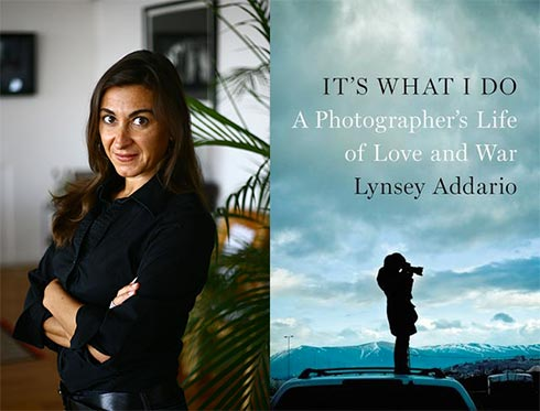 Lynsey Addario and the cover of her book