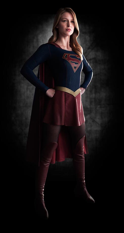 Melissa Benoist in the Supergirl costume.