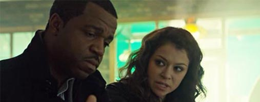 Kevin Hanchard and Tatiana Maslany in Orphan Black