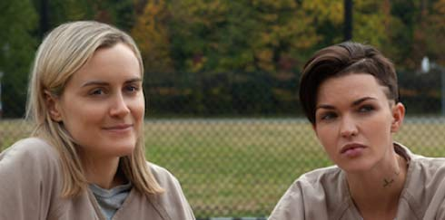 Taylor Schilling and Ruby Rose in a scene from OITNB