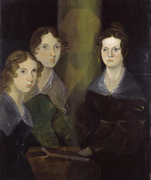 Anne, Emily, and Charlotte Brontë, by their brother Branwell (c. 1834). He painted himself among his sisters, but later removed the image so as not to clutter the picture. Image from Wikipedia