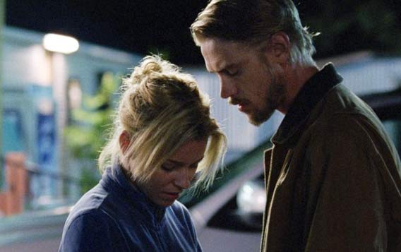 Elizabeth Banks and Boyd Holbrook in a scene from Little Accidents