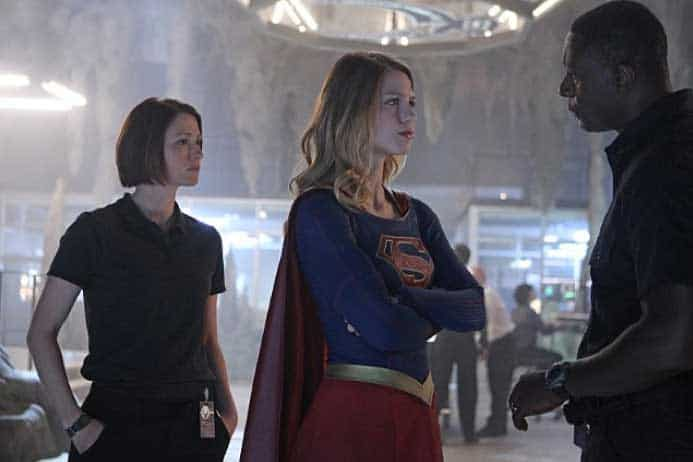 Still of David Harewood, Chyler Leigh and Melissa Benoist in Supergirl