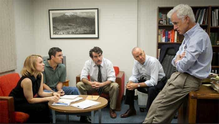 "Rachel McAdams, Mark Ruffalo, Brian d'Arcy James, Michael Keaton and John Slattery in a scene from ""Spotlight."""