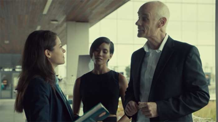 Tatiana Maslany, Jessalyn Wanlim, and Matt Frewer in Orphan Black
