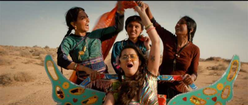 "A scene from the film ""Parched"""