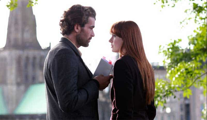 Stanley Weber and Karen Gillan in Not Another Happy Ending