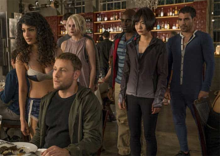 Doona Bae, Max Riemelt, Miguel Ángel Silvestre, Tuppence Middleton, Tina Desai, and Toby Onwumere in Sense8