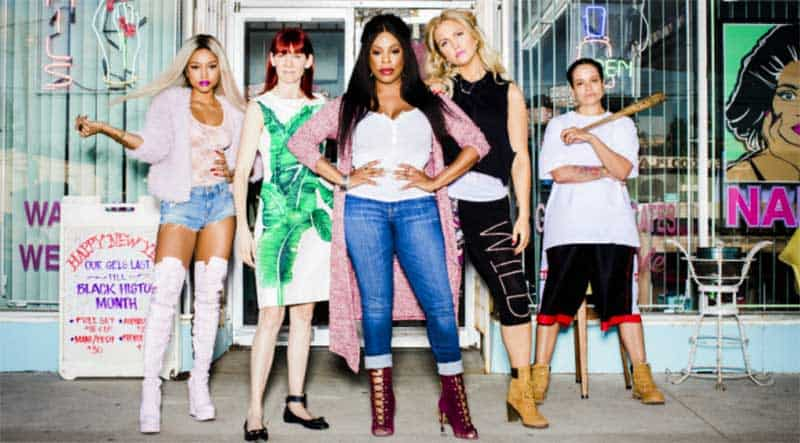 Niecy Nash, Carrie Preston, Judy Reyes, Jenn Lyon, and Karrueche Tran in Claws