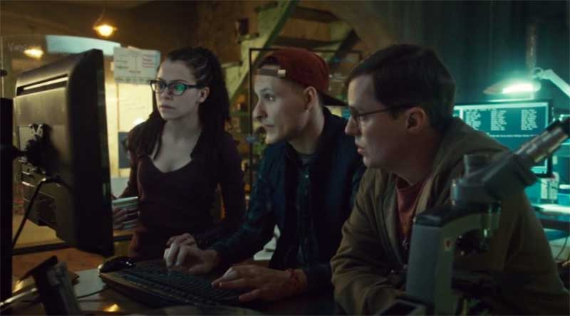 Tatiany Maslany as Cosima, Calwyn Shurgold and Josh Vokey in Orphan Black
