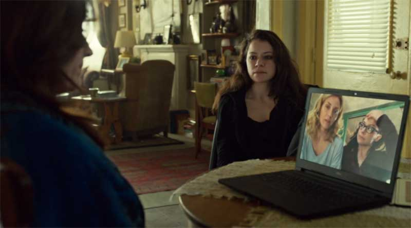 Maria Doyle Kennedy, Tatiana Maslany as Sarah and Cosima with Evelyne Brochu in Orphan Black